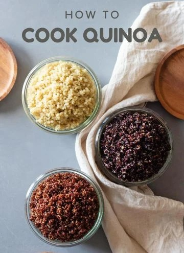 White quinoa, red quinoa, and black quinoa in jars with title How To Cook Quinoa