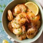 Lemon Garlic Shrimp in a green bowl