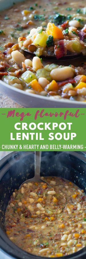 Crockpot Lentil Soup Pin Collage