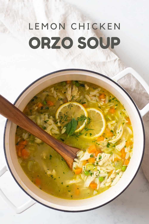 Lemon Chicken Orzo Soup in a white pot
