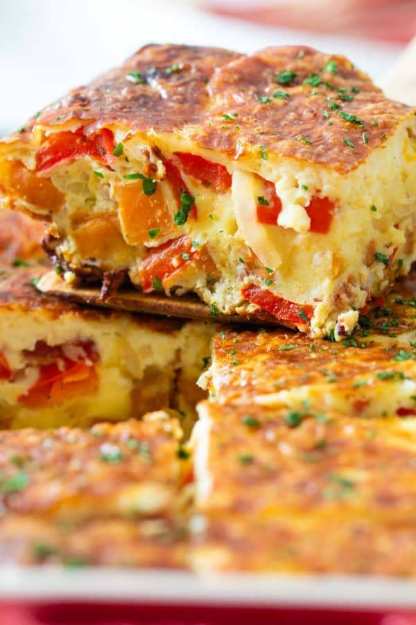 Closeup of a piece of breakfast casserole