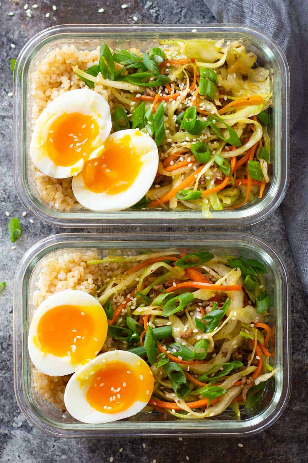 Egg Roll In A Bowl with Ramen Egg in Meal Prep Containers