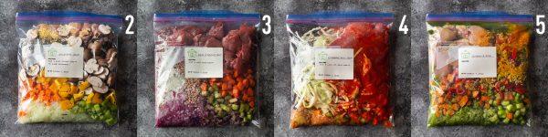 4 freezer meals in bags