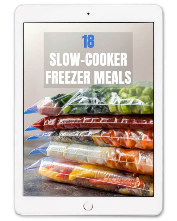 book cover for 18 Slow Cooker Freezer Meals eBook on an ipad