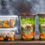 chicken meal prep bowls and salad meal prep jars