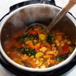 Vegetable Soup in an Instant Pot and text on top saying Instant Pot Vegetable Soup