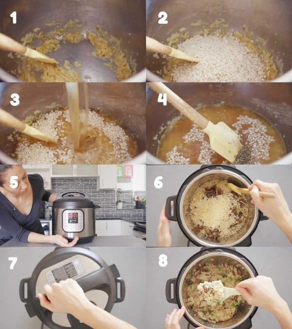 Step by step images of how to make risotto in the Instant Pot. Eight numbered images or the process.