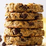 5 Oatmeal Cookies stacked on top of each other.