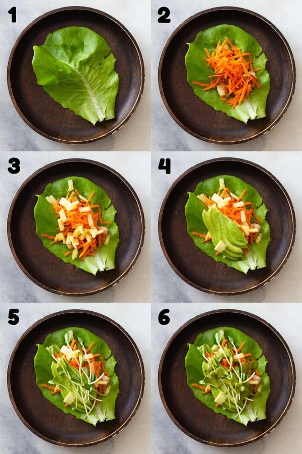 Step-by-step assembly of a chicken lettuce wrap with 6 numbered photos