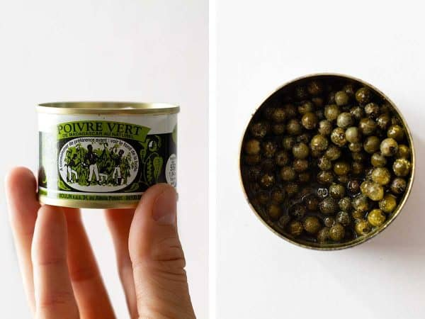 Photo collage of a can of green pepper held in hand on the left and open can on a kitchen counter on the right.