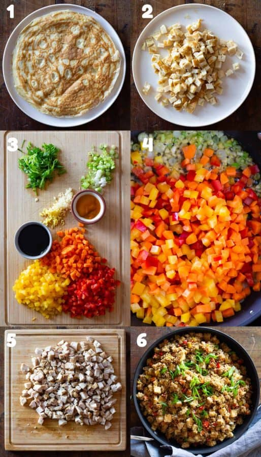 Numbered step-by-step instructions on how to make quinoa fried rice.