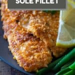 Breaded Sole Fillet on a plate with text overlay of recipe title for Pinterest.