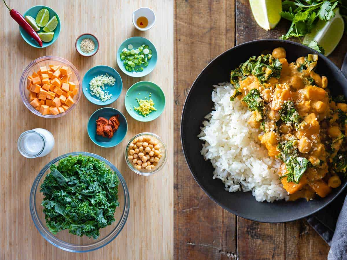 Photo collage of ingredients for sweet potato chickpea curry to the left and finished dish to the right.