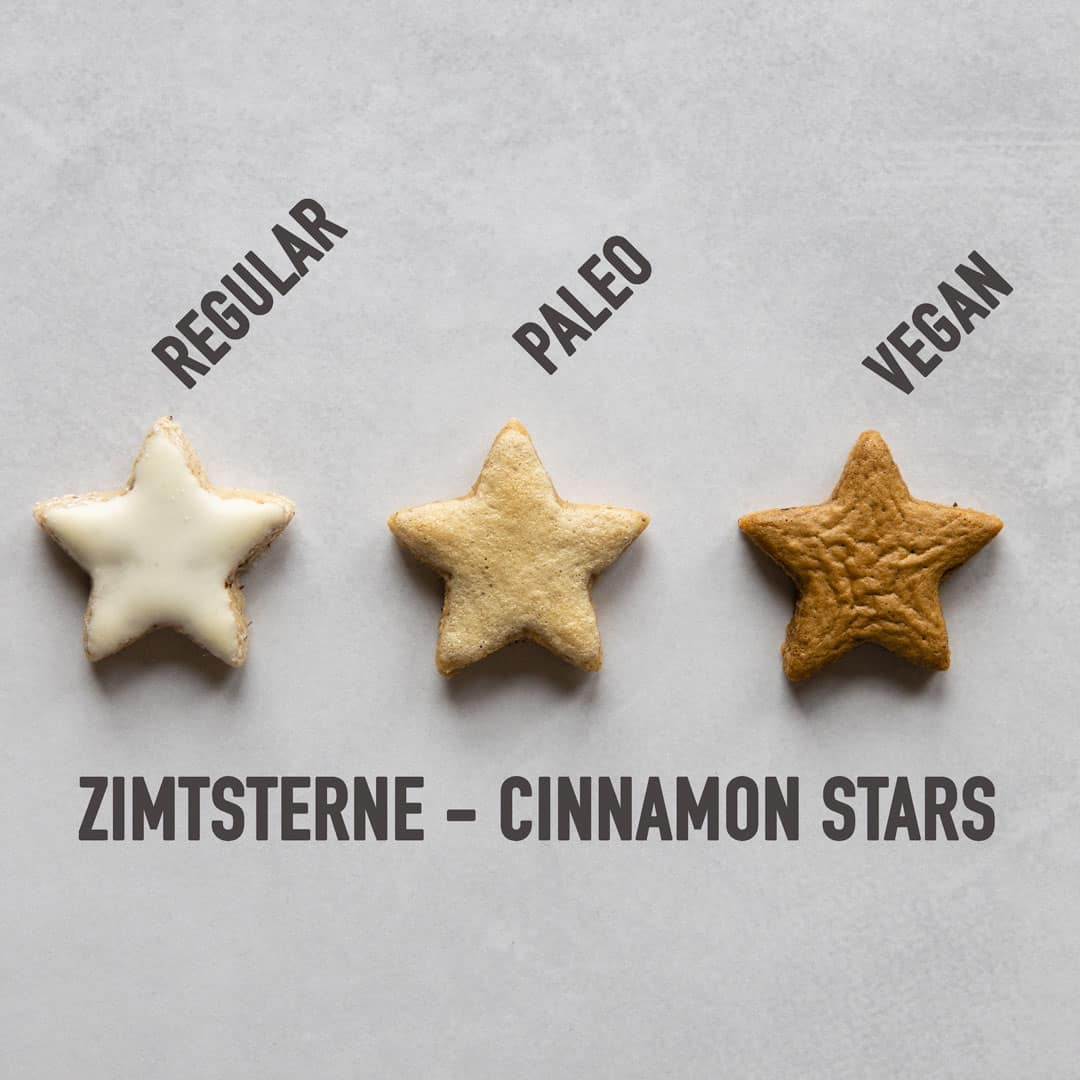 Regular, paleo, and vegan Zimtsterne in one row and text overlay of different types.