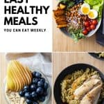 Photo collage of three healthy meals and text overlay with blog post title.