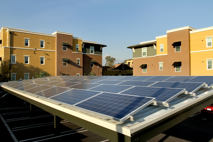 Courier Place's sustainable development is rated LEED for Homes Platinum and exceeds California's Title 24 CalGreen energy efficiency requirements by more than 35 percent with solar panels providing 17 percent of the property's power for common areas.