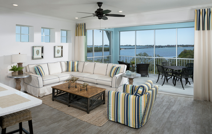 Coach homes offer an expansive screened lanai, granting residents with unobstructed views of water and nature.