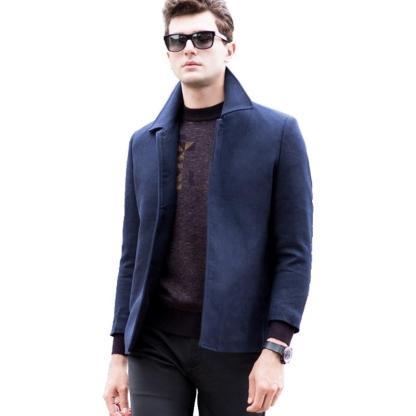 Business Trench Coat (Dark Blue, Grey)