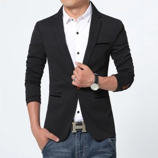 Cotton Slim Blazer available in 5 colors (Black)
