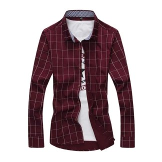 Cotton Plaid Shirt (Wine red)