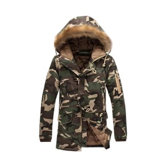 Fur Hooded Army Jacket (Green)