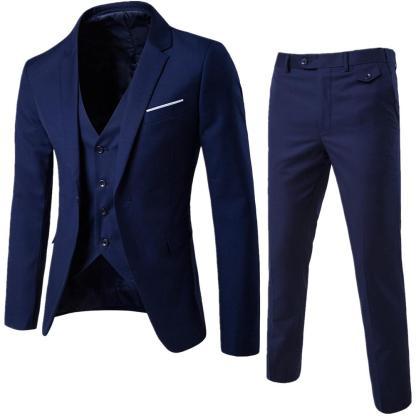 Jacket+Pant+Vest Suit (Navy Blue)