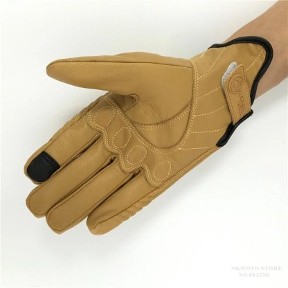 Leather Motorcycle Gloves (Yellow)