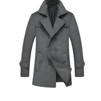 Woolen Double-Breasted Coat (Black/Grey)