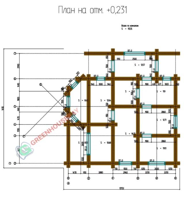 Дом 13 на 12 м. Проект. План