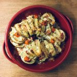 chorizo & melted cheese hasselback potatoes