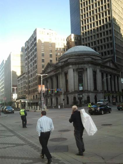 East 9th and Euclid - this corner has now been transformed, with Heinen's grocery store the pictured Ameritrust Rotunda, and apts and a high-end Marriott in the tower behind it