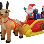 13-Foot-Long-Lighted-Christmas-Inflatable-Santa-Claus-and-Penguin-with-Gift-in-Sleigh-Pulled-by-2-Reindeer-Decoration-0