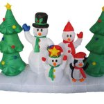 8-Foot-Long-Inflatable-Snowmen-Family-w-Pet-Penguin-Around-Christmas-Trees-0-0