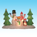 8-Foot-Long-Inflatable-Snowmen-Family-w-Pet-Penguin-Around-Christmas-Trees-0