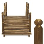 Best-Choice-Products-Wooden-Bridge-5-Stained-Finish-Decorative-Solid-Wood-Garden-Pond-Bridge-New-0-1