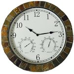 Dannys-World-Real-Textured-Ceramic-Rock-Tile-15-Inch-Indooroutdoor-Clock-with-Temperature-Time-and-Humidity-0-1