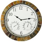 Dannys-World-Real-Textured-Ceramic-Rock-Tile-15-Inch-Indooroutdoor-Clock-with-Temperature-Time-and-Humidity-0