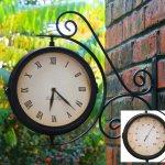 Indoor-Outdoor-Garden-Yard-Bracket-Clock-Thermometer-138ins-0-0