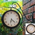 Indoor-Outdoor-Garden-Yard-Bracket-Clock-Thermometer-138ins-0