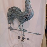 LARGE-Handcrafted-3D-3-Dimensional-full-Body-Rooster-Weathervane-Copper-Patina-Finish-0-1