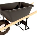 Bon-11-681-Premium-Contractor-Grade-Poly-Tray-Single-Wheel-Wheelbarrow-with-Wood-Handle-and-Knobby-Tire-5-34-Cubic-Feet-0