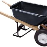 Bon-28-707-Premium-Contractor-Grade-Poly-Tray-Double-Wheel-Wheelbarrow-with-Wood-Handle-and-Ribbed-Tire-5-34-Cubic-Feet-0
