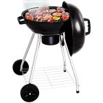 Globe-House-Products-GHP-185-Black-Porcelain-Enameled-Bowl-Lid-Kettle-Charcoal-Grill-with-Wheels-0