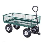 Heavy-Duty-Lawn-Garden-Rolling-Utility-Cart-Wagon-Wheelbarrow-Steel-Trailer-10-Rubber-Air-Tires-Foldable-Frame-Design-Heavy-Duty-Construction-Perfect-For-Gardening-Planting-Use-330-LBS-Load-Capacity-0