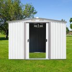 Kinbor-New-8-x-6-Outdoor-White-Steel-Garden-Storage-Utility-Tool-Shed-Backyard-Lawn-Building-Garage-wSliding-Door-0-0