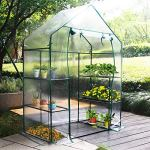 New-Mini-Walk-in-Greenhouse-Portable-Flower-Garden-With-Clear-PVC-Cover-Strong-Metal-Frame-3-Tiers-6-Shelves-Size-56W-x-29D-x-77H-0-0