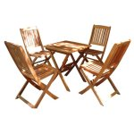 VIFAH-V03SET2-Outdoor-Wood-5-Piece-Dining-Set-Natural-Wood-Finish-24-by-24-by-27-Inch-0