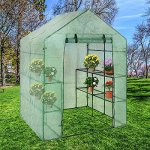 Walk-In-Greenhouse-Cover-Plastic-Replacement-Garden-Cover-2-Tier-8-Shelf-Portable-Green-House-Plant-Cover-Lawn-PECover-only-no-iron-stand-no-flower-pot-0