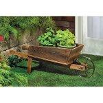 Wooden-Wheelbarrow-Country-Cart-Plant-Stand-Yard-Garden-Planter-0