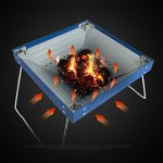 YI-HOME-Barbecue-Outdoor-Charcoal-Stainless-Steel-Folding-Courtyard-S-BBQ-Grill-Tool-Blue-35Cm28Cm-0-2